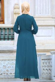 Nayla Collection - Beli Dantel Detaylı Petrol Mavisi Tesettür Abiye Elbise 52546PM - Thumbnail