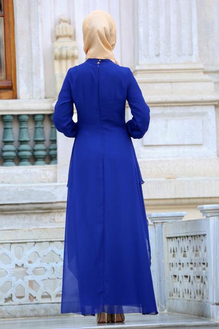 Nayla Collection - Beli Dantel Detaylı Sax Mavisi Tesettür Abiye Elbise 52546SX
