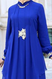 Nayla Collection - Beli Dantel Detaylı Sax Mavisi Tesettür Abiye Elbise 52546SX - Thumbnail