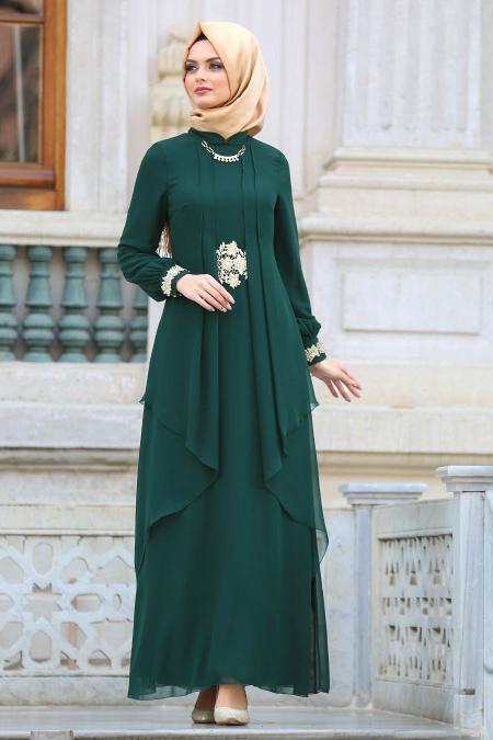 Nayla Collection - Beli Dantel Detaylı Yeşil Tesettür Abiye Elbise 52546Y