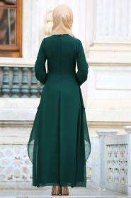 Nayla Collection - Beli Dantel Detaylı Yeşil Tesettür Abiye Elbise 52546Y - Thumbnail