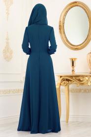 Nayla Collection - Beli Dantelli İndigo Mavisi Tesettür Abiye Elbise 25702IM - Thumbnail