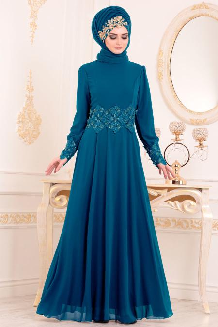 Nayla Collection - Beli Dantelli İndigo Mavisi Tesettür Abiye Elbise 25702IM