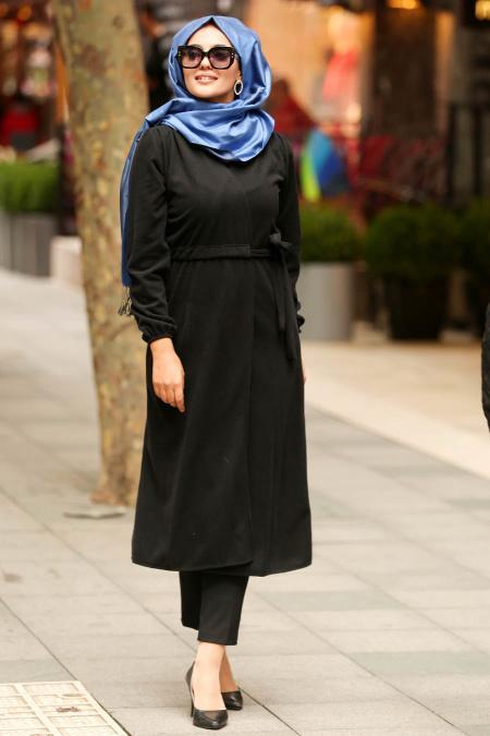 Nayla Collection - Black Hijab Coat 2473S