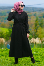 Nayla Collection - Black Hijab Coat 5409S - Thumbnail