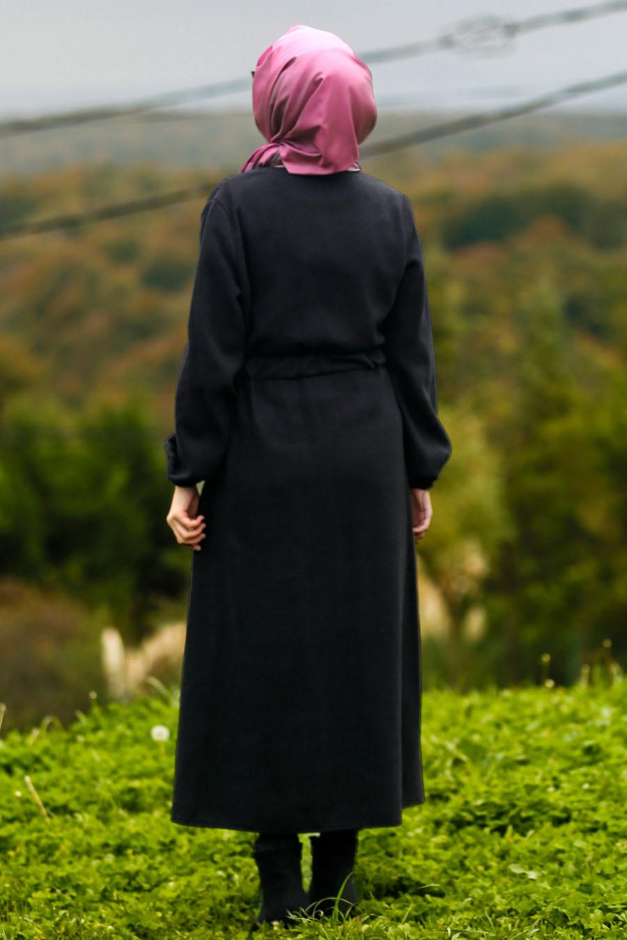 Nayla Collection - Black Hijab Coat 5409S