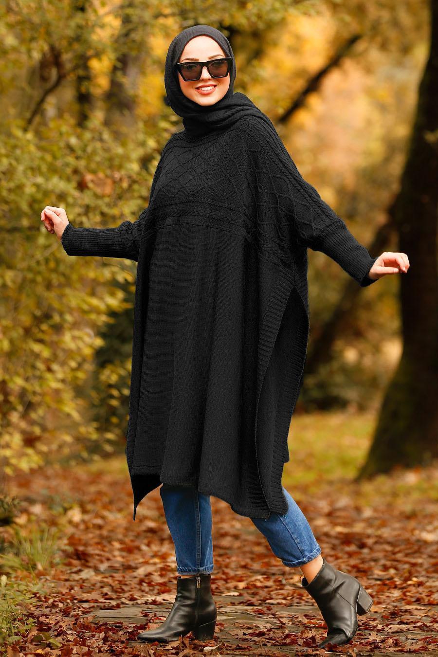 Nayla Collection - Black Hijab Poncho 21040S