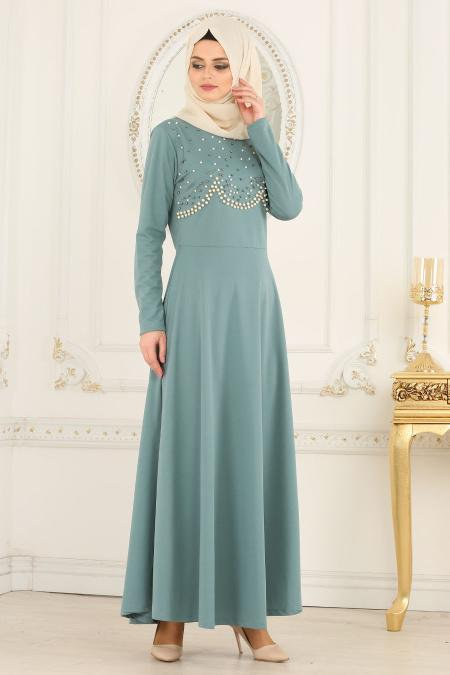Nayla Collection - Boncuk Detaylı Çağla Yeşili Tesettür Elbise 76620CY