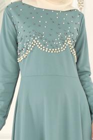 Nayla Collection - Boncuk Detaylı Çağla Yeşili Tesettür Elbise 76620CY - Thumbnail