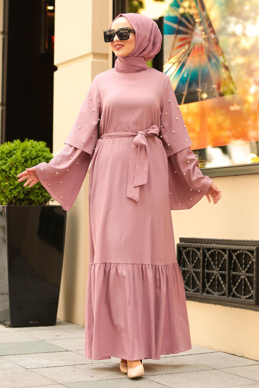 Nayla Collection - Boncuk Detaylı Gül Kurusu Tesettür Elbise 4274GK