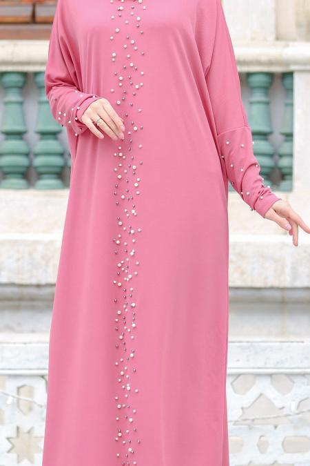 Nayla Collection - Boncuk Detaylı Gül Kurusu Tesettür Elbise 73120GK