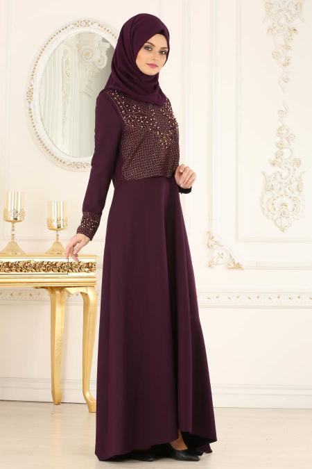 Nayla Collection - Boncuk Detaylı Mor Tesettür Abiye Elbise 20101MOR