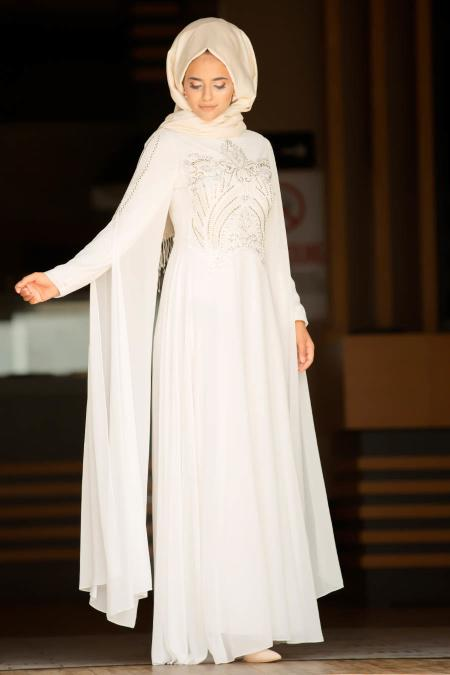 Nayla Collection - Boncuk Detaylı Pelerinli Ekru Tesettür Abiye Elbise 25697E