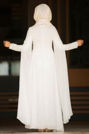 Nayla Collection - Boncuk Detaylı Pelerinli Ekru Tesettür Abiye Elbise 25697E - Thumbnail