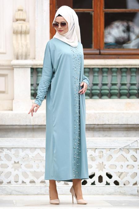 Nayla Collection - Boncuk Detaylı Turkuaz Tesettür Elbise 73120TR