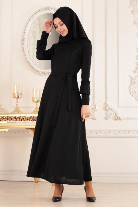 Nayla Collection - Boncuklu Siyah Tesettür Elbise 30401S
