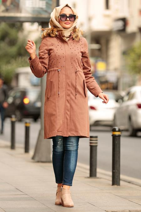 Nayla Collection - Brown Hijab Coat 994KH