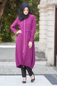 Nayla Collection - Büzgülü Mürdüm Tesettür Kap 5172MU - Thumbnail