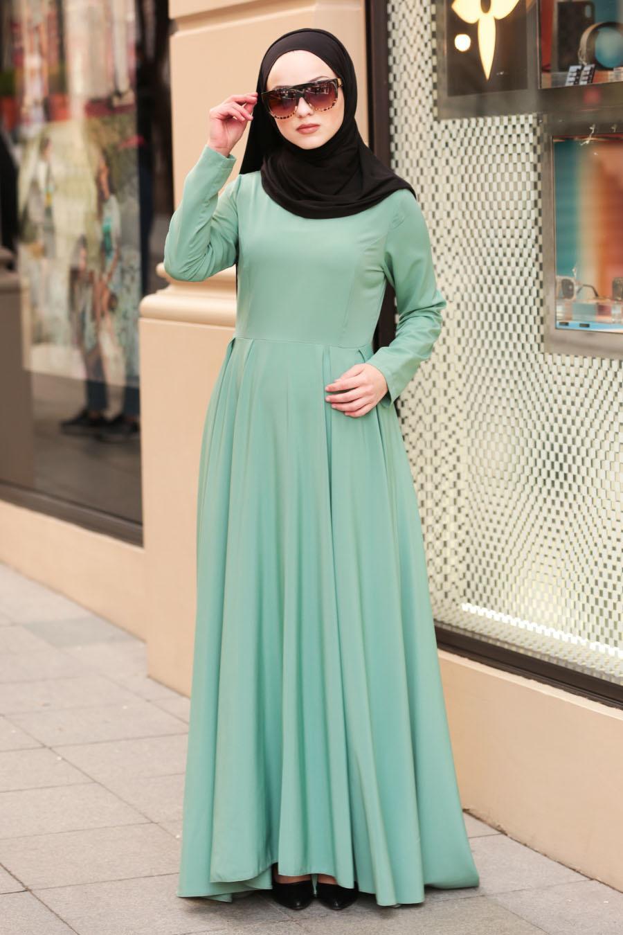 Nayla Collection - Çağla Yeşili Tesettür Elbise 61453CY