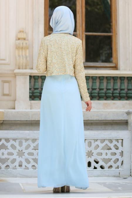 Nayla Collection - Ceketli Bebek Mavisi Tesettür Abiye Elbise 2943BM