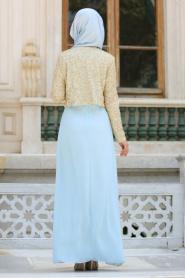 Nayla Collection - Ceketli Bebek Mavisi Tesettür Abiye Elbise 2943BM - Thumbnail