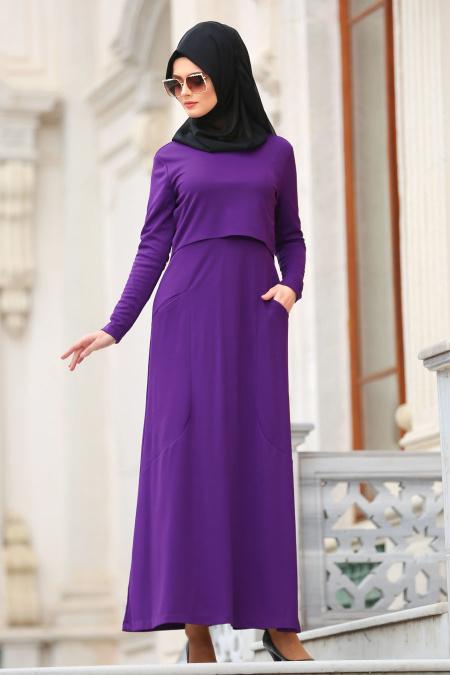 Nayla Collection - Cepli Mor Tesettür Elbise 42070MOR