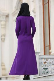 Nayla Collection - Cepli Mor Tesettür Elbise 42070MOR - Thumbnail