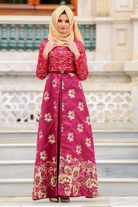 Nayla Collection - Çiçek Desenli Bordo Tesettür Abiye Elbise 82457BR
