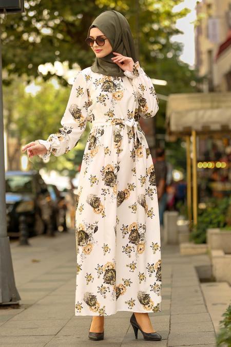 Nayla Collection - Çiçek Desenli Ekru Tesettür Elbise 41491E
