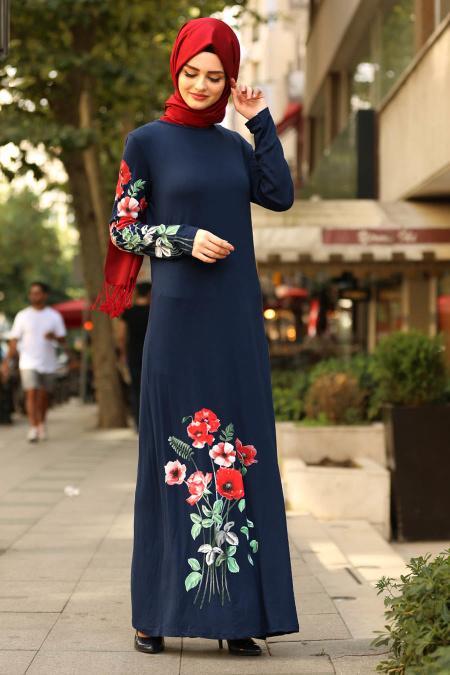Nayla Collection - Çiçek Desenli Lacivert Tesettür Elbise 77950L