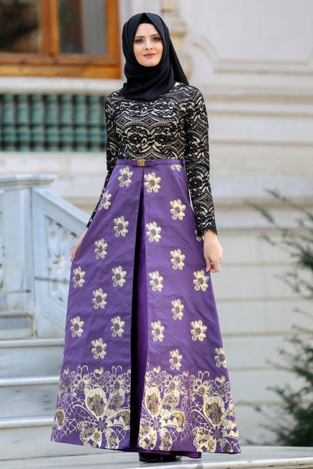 Nayla Collection - Çiçek Desenli Mor Tesettür Abiye Elbise 82457MOR