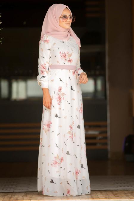 Nayla Collection - Çiçek Desenli Pudra Tesettür Elbise 815205PD