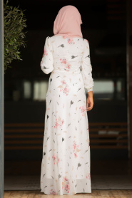 Nayla Collection - Çiçek Desenli Pudra Tesettür Elbise 815205PD - Thumbnail
