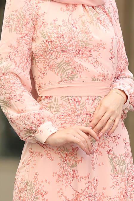 Nayla Collection - Çiçek Desenli Pudra Tesettür Elbise 81527PD