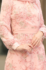 Nayla Collection - Çiçek Desenli Pudra Tesettür Elbise 81527PD - Thumbnail