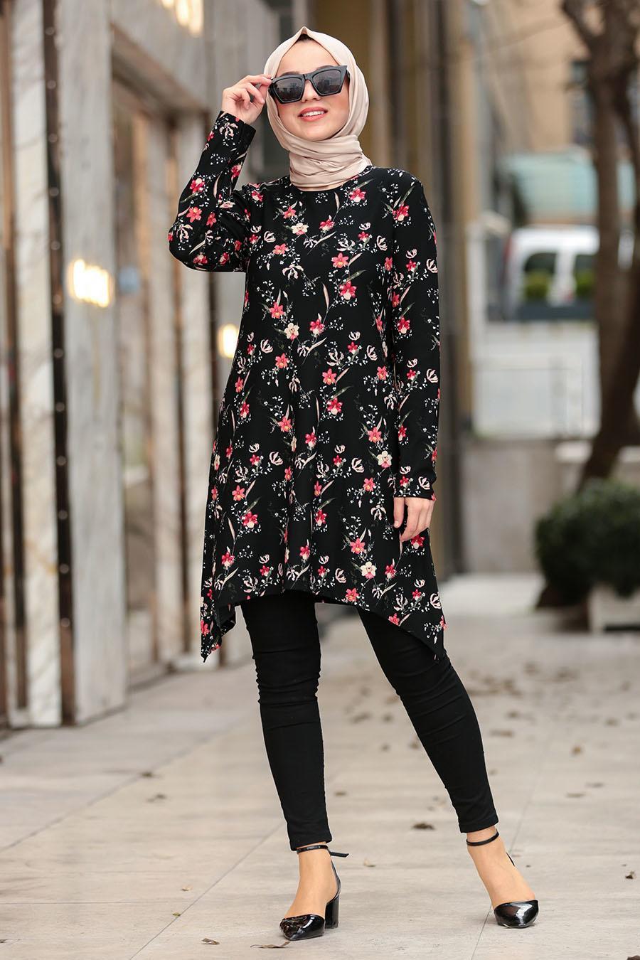 Nayla Collection - Çiçek Desenli Siyah Tesettür Tunik 40451S