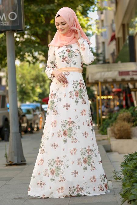 Nayla Collection - Çiçek Desenli Somon Tesettür Elbise 81520SMN