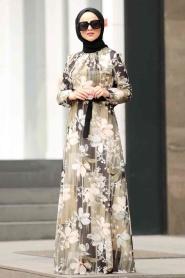 Nayla Collection - Çiçek Desenli Tesettür Elbise 815225DSN - Thumbnail