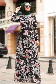 Nayla Collection - Çiçek Desenli Tesettür Elbise 815228DSN - Thumbnail
