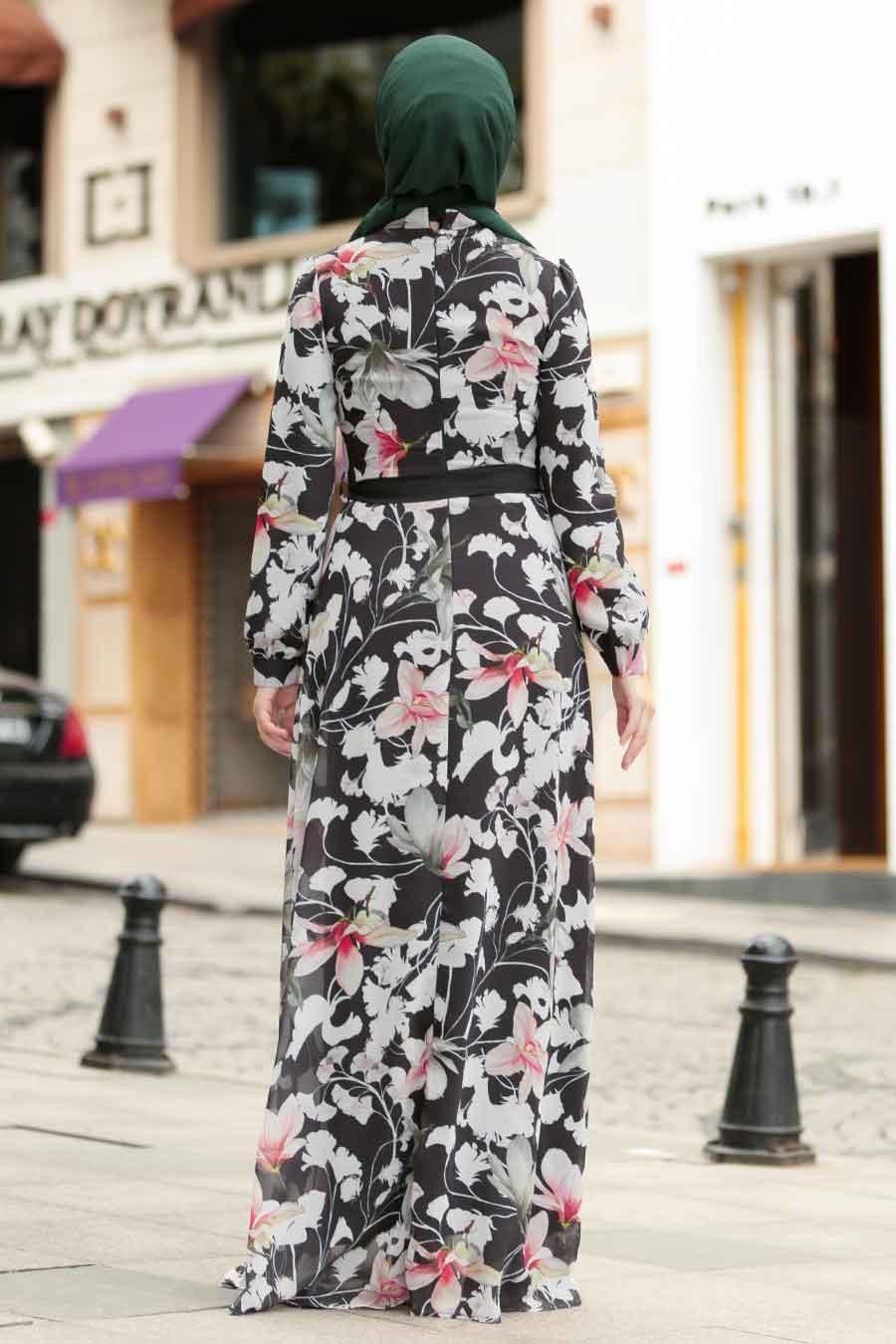 Nayla Collection - Çiçek Desenli Tesettür Elbise 815228DSN