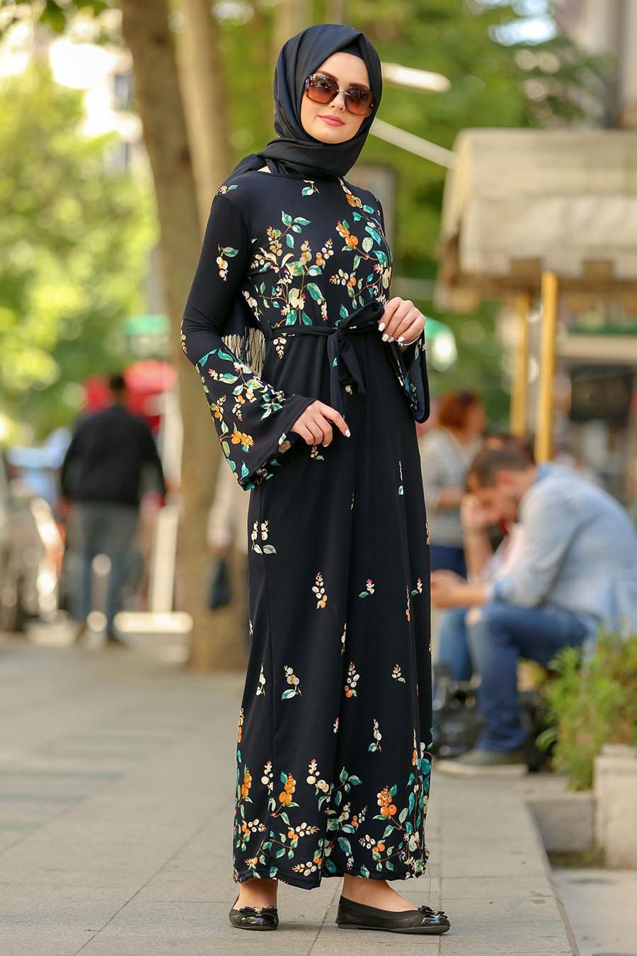 Nayla Collection - Çiçek Desenli Volan Kol Lacivert Tesettür Elbise 87701L