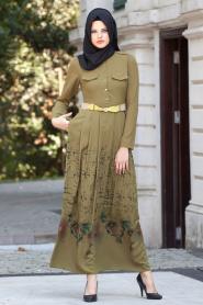 Nayla Collection - Çiçek Desenli Yağ Yeşili Tesettür Elbise 5270YY - Thumbnail