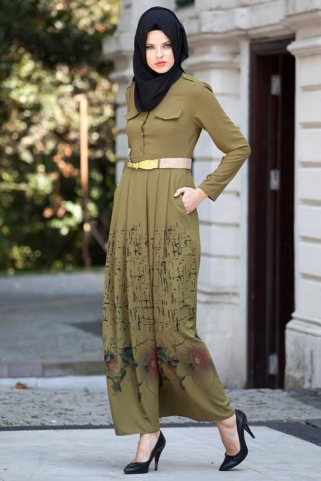Nayla Collection - Çiçek Desenli Yağ Yeşili Tesettür Elbise 5270YY