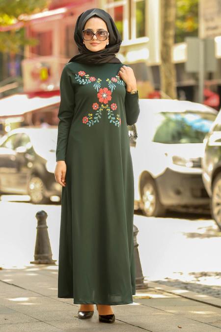 Nayla Collection - Çiçek Desenli Yeşil Tesettür Elbise 79340Y