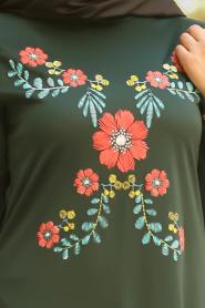 Nayla Collection - Çiçek Desenli Yeşil Tesettür Elbise 79340Y - Thumbnail