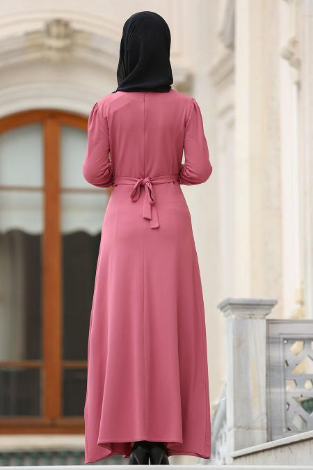Nayla Collection - Çiçek İşlemeli Gül Kurusu Tesettür Elbise 76370GK