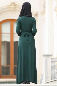 Nayla Collection - Çiçek İşlemeli Yeşil Tesettür Elbise 76370Y - Thumbnail