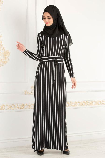 Nayla Collection - Çizgili Siyah Tesettür Elbise 21150S