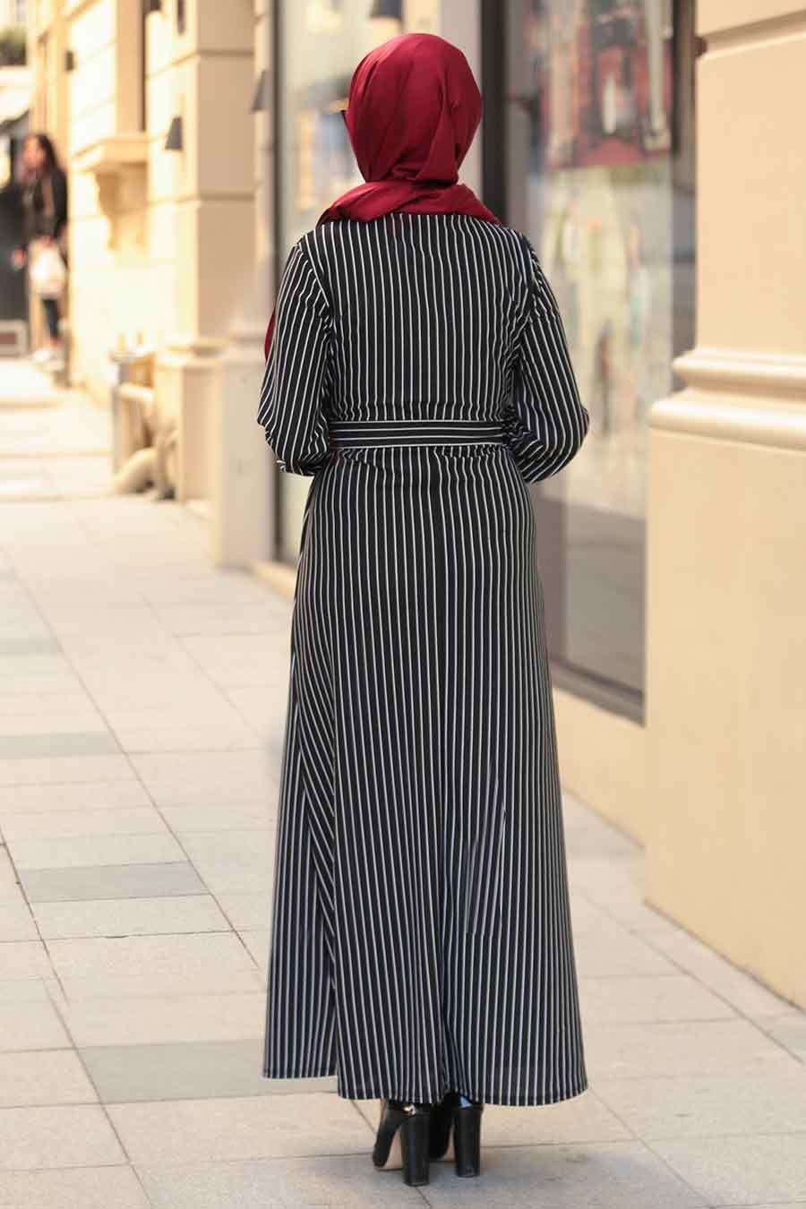 Nayla Collection - Çizgili Siyah Tesettür Elbise 2396S