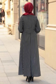 Nayla Collection - Çizgili Siyah Tesettür Elbise 2396S - Thumbnail